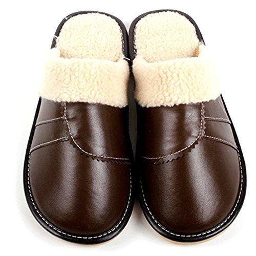 Pelle Pantofole Marrone Spessore In Motivo Inizio Solo Uomo Buzede Antiscivolo Caldo Di Interna Da In Coppia Donne Cotone Inverno 5Fn7Uqtw