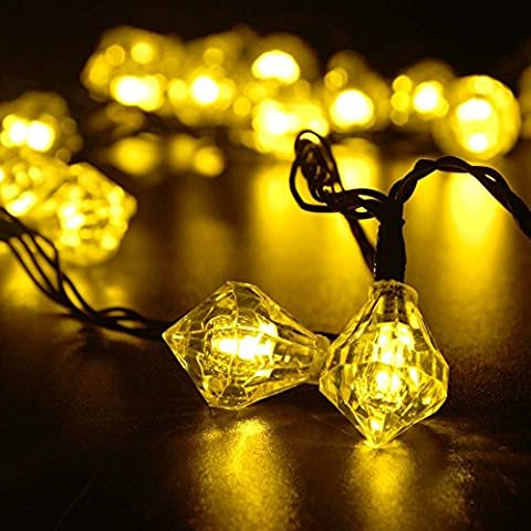 EloBeth 30er LED Solar Lichterkette Diamant Garten Außen Innen 6 Meter Warmweiß Solar Beleuchtung Kugel für Party, Weihnachten, Outdoor, Fest Deko usw. [Energieklasse A+++]