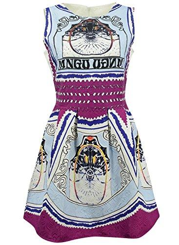 Azbro Women's Vintage Round Neck A-line Dress Multicolored