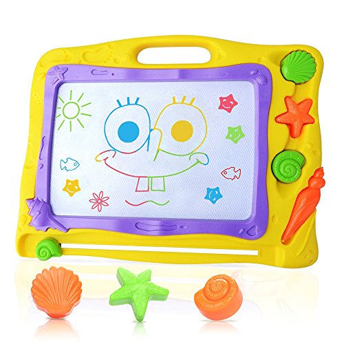 Pootack Pizarra magnética colorido, Almohadilla borrable de escritura y dibujo para niños 2 años 3 años 4 años - Juguetes educativos - Megasketcher - Portátil - Tamaño 40 x 31CM - Amarillo