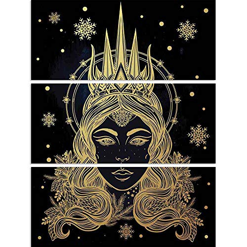 ArtzFolio Fantasy Snow Queen Portriat Split Art Painting Panel On Sunboard 28 X 36.4Inch (Queen-size-split-box)