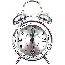 retro reloj despertador con tapa y fecha en color blanco y negro