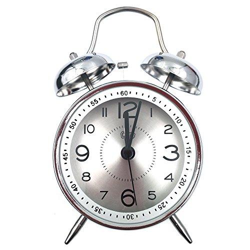 Retro reloj despertador, Vintage habitación reloj clásico casa gemelos Bell cuarzo mesa de reloj de la lámpara con ultra MUTE no tictac barrido segunda mano HD lente de vidrio con batería operada (plata-plata)