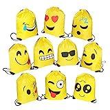 FORMIZON 10 Pack Emoji Bolsas de Cuerdas, Encantador Emoji Cordón Dibujos Animados Mochila Bolsas, Gimnasio Backpack para Niños Niñas Fiesta