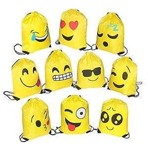 51ez8BzwWVL. SS300  - FORMIZON 10 Pack Emoji Bolsas de Cuerdas, Encantador Emoji Cordón Dibujos Animados Mochila Bolsas, Gimnasio Backpack para Niños Niñas Fiesta