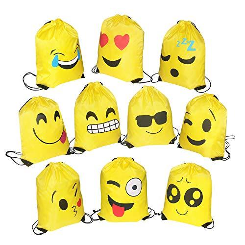FORMIZON 10 Stück Kinder Emoji Turnbeutel Rucksack, Mitgebsel Kindergeburtstag Gastgeschenke Beutel Geschenktüte Party Favors für Geschenktaschen Smiley Geburtstagsfeier Partytüten