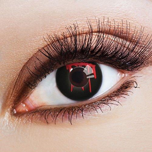 aricona Kontaktlinsen Farblinsen schwarze Kontaktlinsen Halloween Kostüm Hexe | Horror Make up mit farbigen Linsen für Larp Fasching und Ergänzung zur Karnevalsschminke