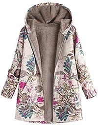 b750a09f1 Abrigo De Invierno Para Mujer Parkas De Invierno Estampado Vintage Cálido  Con Floral Bolsillos Con Capucha