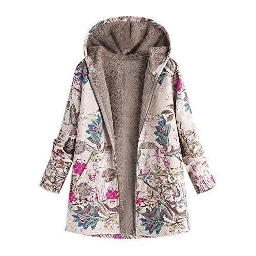 (Qiusa Womens Vintage Winter Pelz Warm Outwear Blumendruck Kapuzen Full Zip Oversize Jacke (Farbe : Hot Pink, Größe : L))