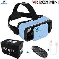 VICTORSTAR @ VR BOX MINI con telecomando,VR MINI Occhiali 3D del casco,VR Occhiali da vista,Portabilità 174g con regolabile Alunno e Focal Distanza Per 4,5 a 5,5 pollici smartphone (blue)