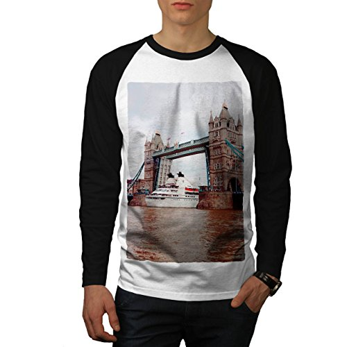 Golden Brücke Mode Fluss Thames Men XL Baseball LS T-shirt | Wellcoda (Fluss-baseball-jersey)