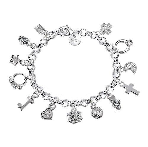 Scrox 1x Armband Inspiriert Herz Schloss Schlüssel Anhänger Armband Paar Armbänder Liebhaber Unisex, Silber