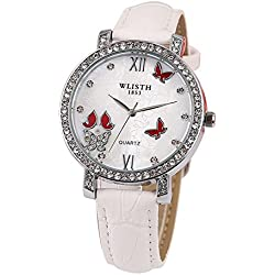 Longqi Womens Quartz Watches Crystal Butterfly Dial Leather Strap Watch