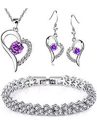 Kim Johanson Damen Schmuckset  Lola  Halskette mit Anhänger, Ohrringe    Armband aus 925 d522fccea6