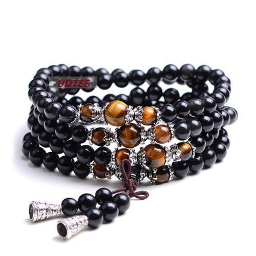 Preisvergleich Produktbild UDTEE New/Fashion Black Color Tiger Eye Crystal Gemstone Tibet Buddhist Buddha Meditation 108 Prayer Bead Mala Bracelet/Necklace