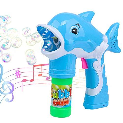Seifenblasen Pistole, Womdee Automatische Bubble Machine Mit LED Leuchten Und Sound Langlebiges Bubble Gun Gebläse Für Kinder Jungen Mädchen Kleinkinder Geburtstagsfeiern Blau