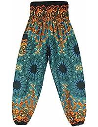 44b6954621d1 Moonuy Femme Pantalon bouffant large bande stretch a la taille Sarouel  Pantalon Floral Imprimé Taille Haute
