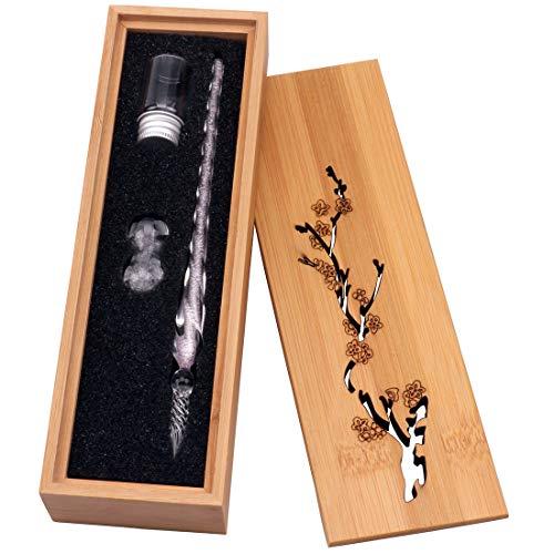 Glas Dip-Stift Jahrgang Handgemachte Glas Unterschrift Stift Elegante Kristall Dip Zeichen Geschenk Stift Mit Geschnitzten Holzkiste(Hellrosa) Glas Dip