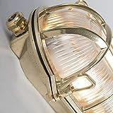 QAZQA Landhaus/Vintage/Rustikal/Retro Außen Wand- und Außen Deckenleuchte/Deckenlampe/Lampe/Leuchte Nautica 1 oval Gold/Messing/Außenbeleuchtung/Schlafzimmer Metall Oval LED geeignet - 7