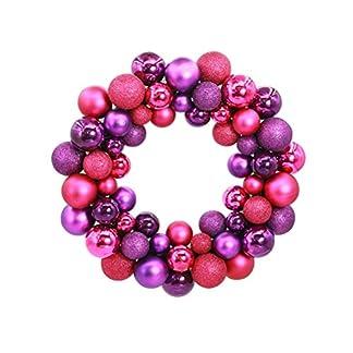 LUOEM-Kugelkranz-Weihnachtskranz-mit-Kugeln-Weihnachtskugel-Weihnachten-Tr-Anhnger-Rose-Rot-Lila
