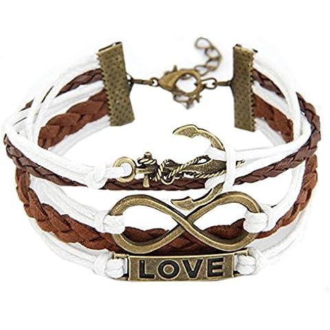 Bronze Ancora Amore Infinito Ciondoli Bracciali Diy Pelle Cavo monili unici - Amore Cavo Bracciale Cord