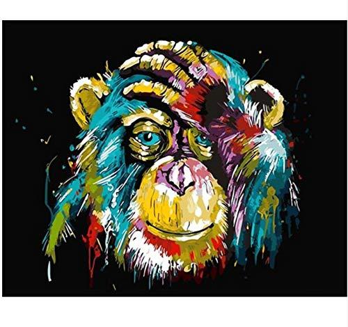 LKHOV Malen nach Zahlen Digitale Malerei Kein Rahmen AFFE DIY Malen Nach Zahlen Wohnkultur DIY Leinwand Ölgemälde Für Wohnzimmer 40 cm x 50 cm
