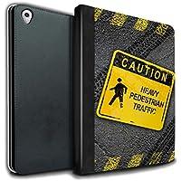 STUFF4 PU Pelle Custodia/Cover/Caso Libro per Apple iPad Pro 9.7 tablet / Pesante Pedonale / Cartelli Stradali Divertenti disegno