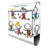Banjado Design Briefkasten mit Motiv Happy Kids | Stahl pulverbeschichtet mit Zeitungsrolle | Größe 38x47x14cm, 2 Schlüssel, A4 Einwurf, inkl. Montagematerial mit Beschriftung