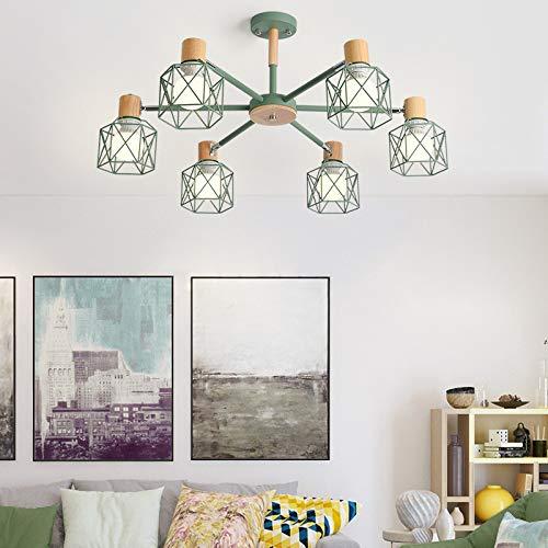 Semplice studio a led lampada da letto camera da letto lampada 6 testa verde scuro con lampadina a luce bianca monocromatica da 9 watt