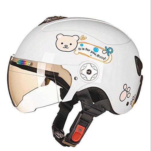 Helm Motorrad Bike Skateboard Skating Sport Kinder Sommer Boys & Girls Cartoon Muster Kinder Elektro Auto Safety Protective Caps Vier Jahreszeiten Mehr (Farbe : Weiß, größe : M)