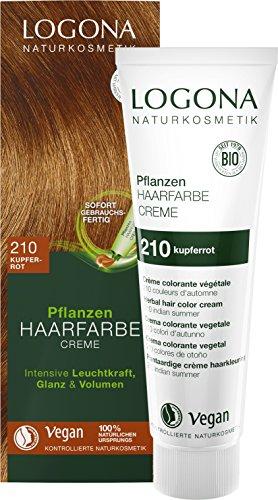 LOGONA Naturkosmetik Pflanzen-Haarfarbe Creme 210 Kupferrot, Rote Natur-Haarfarbe mit Henna, Farbcreme, Coloration, 150ml - Rotes Haar Creme