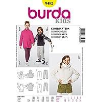 Burda 9482 Schnittmuster Kapuzenshirt Shirtkleid Jogginghose Leggings (kids, Gr. 104-164) Level 2 leicht