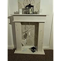 Wolkenstube Decorative Fireplace White Shabby, Fireplace Console, Handmade, Mannequin