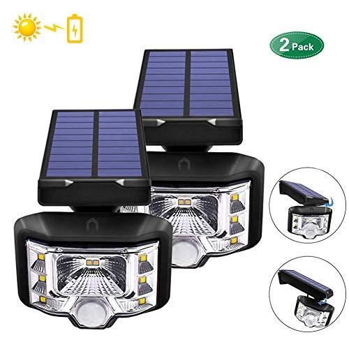 Luz de Sensor de Movimiento Solar, 8 LED Luz de Seguridad Solar IP65 Luz de Pared Impermeable al Aire Libre Inalámbrico para Patio Deck Yard Garden 2 PCS