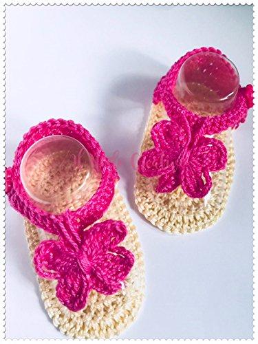 Infradito neonata uncinetto | scarpe bimba con farfalla | scarpette o sandali in cotone neonata