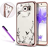 Samsung Galaxy S7 Edge Coque, EMAXELERS Galaxy S7 Edge Coque, Bling Strass Cristal Rose Or Transparente Mince Souple TPU Silicone Etui Housse de Coque, Yellow Flower Butterflies Design Glitter Bling Étui Case pour Samsung Galaxy S7 Edge -- White Flower&Butterfly[Rose Gold]
