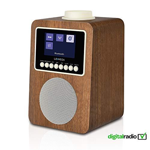 wecker und kabelloser Lautsprecher mit DAB, DAB +, UKW-Radio, Bluetooth, Alarm, Sleep, Snooze, Clock, AUX, USB-Aufladung (Nussbaum) ()