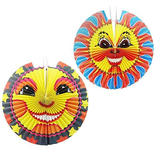 com-four® 2-teiliges Kinder Laterne aus Papier mit Sonnenmotiv, Lampion für Kinder, Ø 42 cm und Ø 45 cm (002 Stück - Sonne) (Sonne Kostüm Kleinkind)