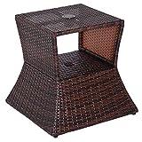 Outsunny Tavolino da Giardino con Ripiano Inferiore e Foro per Ombrellone da 4.5cm in Rattan 54x54x55cm Marrone