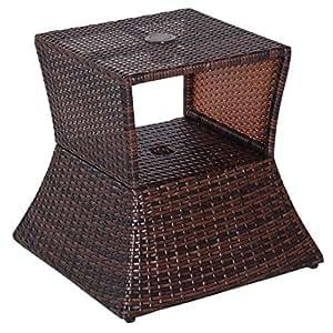 Outsunny Gartentisch Garten Beistelltisch Tisch Gartenmöbel Polyrattan Hartglas