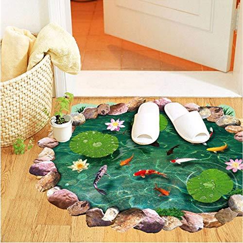Qwerlp Teich Boden Wasserdicht Rutschfest 3D Fisch Teich Lotus Blatt Badezimmer Glas Dekorative Malerei Vinyl Wohnzimmer