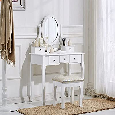 Schindora White Dressing Table and Chair Makeup Desk with Stool 5 Drawers and Oval Mirror Bedroom produced by Schindora - quick delivery from UK.