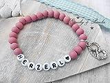 Armband Buchstaben Herzerl Brezel Holzperlen rosa Anhänger Handmade