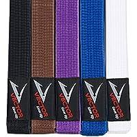 Vector Sports Cinturón 100% de algodón brasileño Jiu Jitsu BJJ Pro, Colores estándar brasileños Jiu Jitsu, A2, Negro