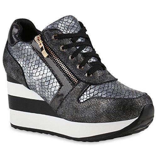 Damen Sneakers | Sportschuhe Lack Glitzer | Sneaker Wedges Metallic Pailetten | Plateauschuhe Kroko Camouflage | Keilabsatz Schuhe Grau Kroko