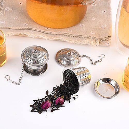 Tee-ei Sieb Edelstahl Sieb für losen Blatt-Tee Ollimy Teefilter Kaffee und Auffangwannen (2 Stück) geeignet für jeden losen Tee und alle Tee-Blätter - 6