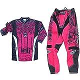 Motorradanzüge WULFSPORT AZTEC Kinder Motorradkombi Motocross-Rennkleidung Hose Jersey Anzug für MX Gokart Quad Scooter Sportkleidung, Zweiteilige Kombinationen (Rosa, 11 bis 13 Jahre)