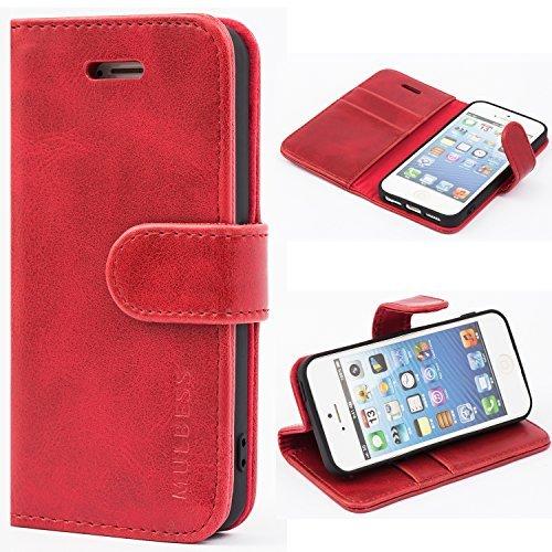 Mulbess Handyhülle iPhone SE Hülle Leder, Klappbar mit Flip Wallet Case Schutzhülle für iPhone 5s Hülle Leder und iPhone 5 Hülle klappbar Tasche Cover Ledertasche Lederhülle, Wein Rot