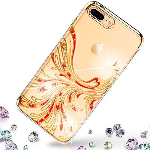 Qult custodia per iphone 7 plus (5.5) con pietre swarovski | swarovski crystal decoration cover per apple iphone 7+ phoenix gold