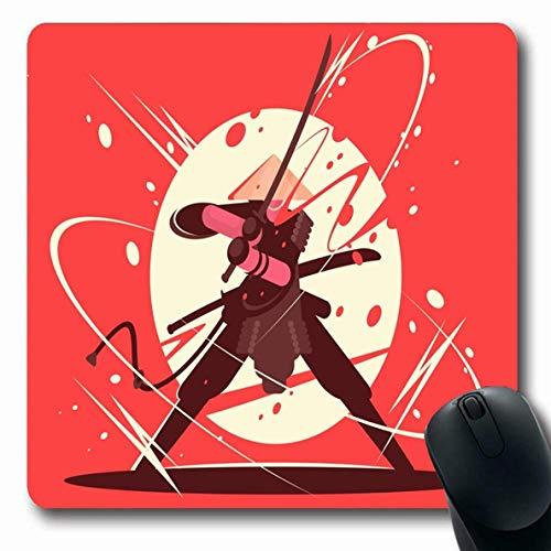 Luancrop Mousepads Kostüm Schwert Schlacht Samurai Katana Martial Vintage Ninja Fight Kämpfer Pose Combat Charakter rutschfeste Gaming Mouse Pad Gummi Oblong Mat